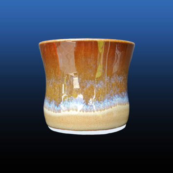 Hand thrown tumbler cup, 9 oz,  handmade pottery mug is made on a pottery wheel with porcelain with blue and brown ceramic glazes, gift idea