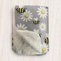 Happy Bee Daisy Sherpa Fleece Blanket - Cute Yellow Happy Bee and White Daisy Pattern over Gray - 2 sizes available - Made to Order