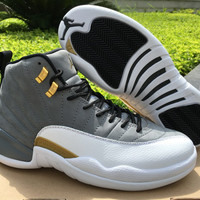 Air Jordan 12 Cool Gray -Gold AJ 12 Men Basketball Shoes