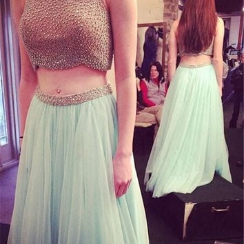 Two Piece A-Line Beads Prom Dresses,Evening Dresses