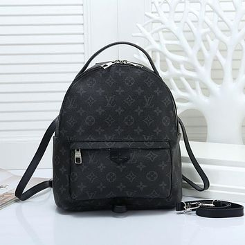 LV 2018 new classic checkerboard printing men and women casual retro backpack Black print
