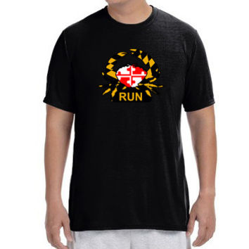"Mens Short Sleeve Performance ""Maryland Crabby Runner"" Technical T-Shirt"