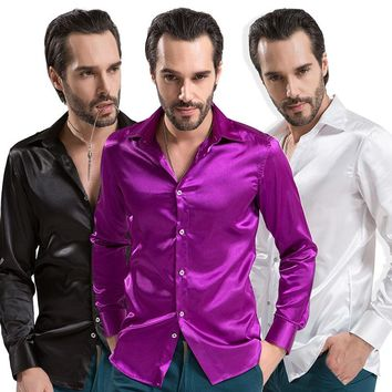 Men Solid Tuxedo Shirt Business Fashion Polyester Silk Shirt Men Casual Slim Chemise Homme