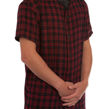 BLACK/RED PLAID FLANNEL BASEBALL JERSEY