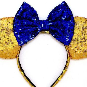 Princess Belle - Gold Sequin Ears and Royal Blue Bow