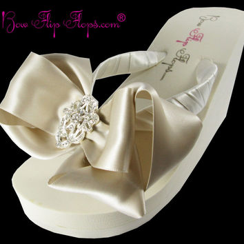 Bridal Flip Flops Ivory White Wedge Womens Wedding Platform Rhinestone Satin Bow Flip Flops