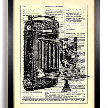 Camera Repurposed Book Upcycled Dictionary Art Vintage Book Print Recycled Vintage Dictionary Page Buy 2 Get 1 FREE