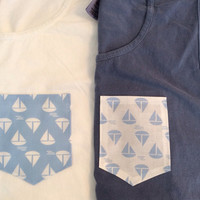 Sailboat Pocket on a Comfort Colors Tank or Tee