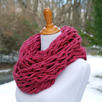 Chunky knit infinity scarf, wool acrylic blend, raspberry scarf, winter accessory, textured knit, Christmas gifts for her, gifts under 50