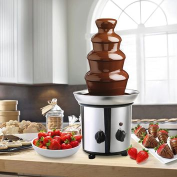 4 Tiers Stainless Steel Chocolate Fondue Fountain A chocolate fountain is a device for serving chocolate fondue.
