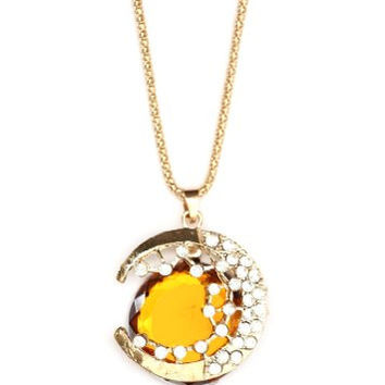 Crescent Moon Necklace Vintage Amber Orange Crystal Gold Tone NI15 Lunar Pendant Fashion Jewelry