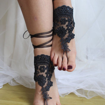 pale black,   lace,    wedding sandals,    bridal accessores,   beach sandals,    free shipping!