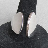 Vintage Chunky Taxco Mexico Signed MA Modernist Sterling Silver Ring, Adjustable Size 7