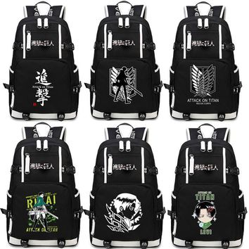 Anime Attack on Titan Backpack Cosplay Levi Ackerman Canvas Bag Super Saiyan Schoolbag Travel Bags