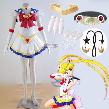 Athemis Anime Sailor Moon Tsukino Usagi Super S Cosplay Costume Custom Made Any Size Dress and Jewelry Macchar Cosplay Catalogue