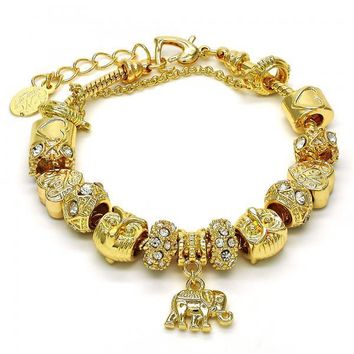 Gold Layered 03.63.1808.08 Fancy Bracelet, Elephant and Heart Design, with White Crystal, Polished Finish, Golden Tone