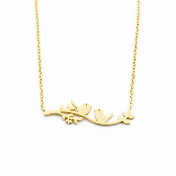 GORGEOUS TALE Love Series Two Birds on the Branch Shape Delicate Romantic Jewelry Stainless Steel Women Charming Choker Necklace