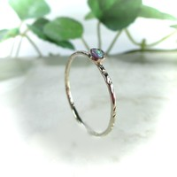 Stacking Ring Gold Cross Cut with Purple Fire Opal