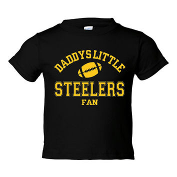 DADDYS LITTLE STEELERS Fan Boys Or Girls Black Toddler Shirt Or Onsie Pittsburgh Steelers Fan Football T shirt Black With Yellow Lettering