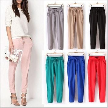 2016 New Women's Trousers High Quality Chiffon Pants Casual Slim Drawstring Waist Trousers Summer Spring Pants Candy Colors