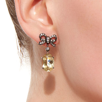 18K Gold Citrine and Diamond Drop Earrings | Moda Operandi