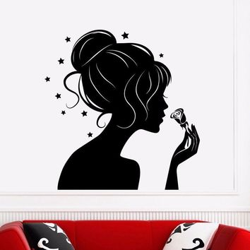Girl Silhouette Beauty Lady Girl Hair Sticker Wall Decals For Girls Room Home Decoration Art Mural Window Decor H215