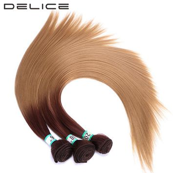 """DELICE 16"""" 18"""" 20"""" Women's Straight Hair Weaving Weft Ombre Color T4/27 One Bundles Heat Resistance Synthetic Hair Extensions"""