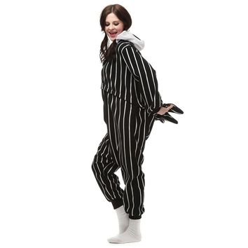 The Nightmare Before Christmas Jack Fleece Cosplay Costume Pajamas Party Onesuits Halloween Fancy costume One-Piece