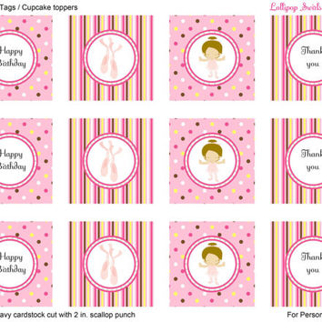 Lil Ballerina Girls DIY Printable Mini Birthday Bundle / Invitation / Thank You Card / Favor Tags or Cupcake Toppers