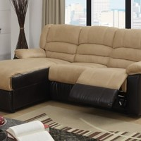 F6636 - Bay Hazelnut Microfiber/Espresso Bonded Leather Recliner Sectional Sofa W/ Left Chaise - Furniture2Go