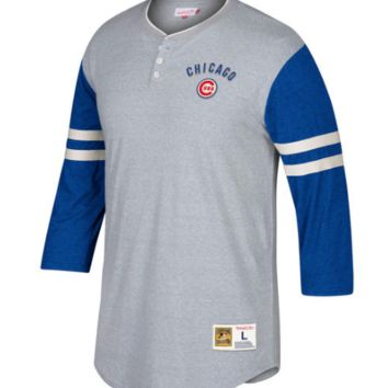 Men's Chicago Cubs Mitchell & Ness Gray/Royal Home Stretch 3/4-Sleeve Henley T-Shirt