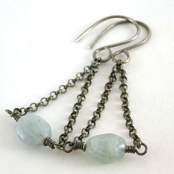 Genuine Aquamarine Earrings Oxidized Silver Jewelry Handmade Blue Drop Earrings Blue Gemstone Jewelry Dangle Chain Earrings March Birthstone