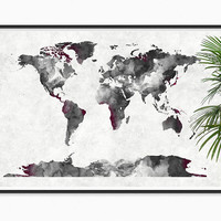Modern World Map Watercolor canvas texture Art Print Watercolor painting Map of the World Map Decor Map art Map wall art Black and white Art