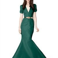 ROLLED SHORT SLEEVE V-NECK SLIM FISHTAIL GOWN