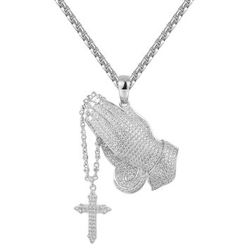 Praying hands with Rosary Pendant Tennis Chain Set