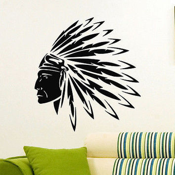 WALL DECAL VINYL STICKER PEOPLE NATIVE AMERICAN INDIAN MAN TRIBAL DECOR SB944