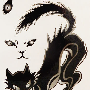 Halloween Black Cat Devil Girl Temporary Tattoos
