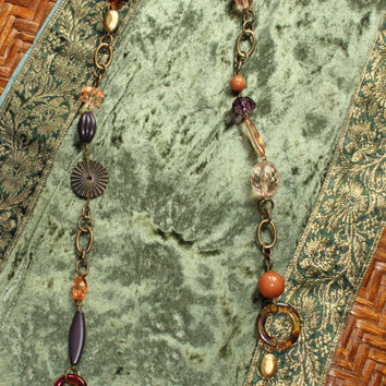 Vintage Boho Hippie Beaded Necklace In Brass Tone