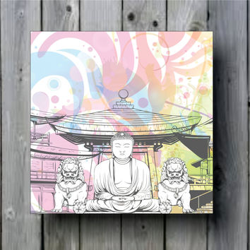 Buddha Grunge Japanese Illustration Art Background Photo Panel - Durable Finish - High Definition - High Gloss