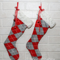 Christmas Stockings in Argyle Plaid Fleece, Holiday Decor Cozy Christmas Stockings with Fax Fur and Bells
