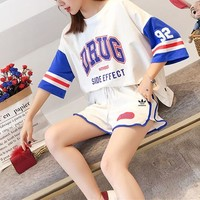 """Adidas"" Women Loose Casual Fashion Multicolor Letter Numeral Print Short Sleeve Shorts Set Two-Piece Sportswear"