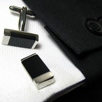 Cufflinks - Silver black - Cuff links - Gift for men