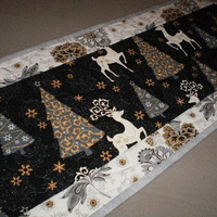 HOLIDAY SALE Quilted  Runner Reindeers Christmas Trees Gray Gold Handcrafted Oblong  NOW 24.00
