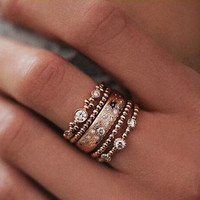 Fashion 5Pcs/Set Crystal Rose Ring 5 Sparkly Rings  Jewelry