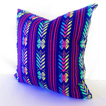Purple Pillow, Tribal Pillows Covers, Colorful Pillow Covers, Bohemian Decor, Boho Bedding, Mexican Cushion, Square, tribal pillowcase.