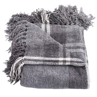 Joni Gray Boucle Chenille Plaid Throw