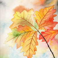 Original Watercolor Painting Fall Autumn Leaves
