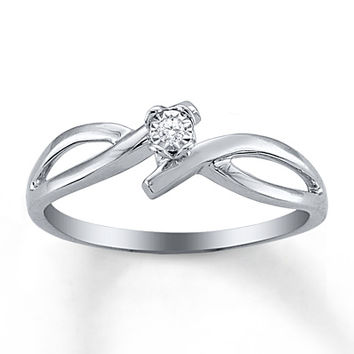 Diamond Promise Ring Sterling Silver
