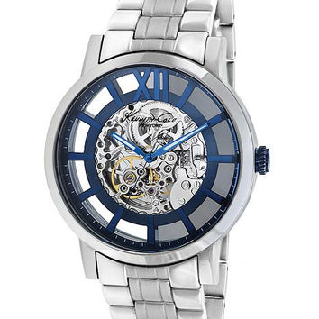 Kenneth Cole Mens Automatic Watch - Skeleton Dial with Blue Accents - Stainless