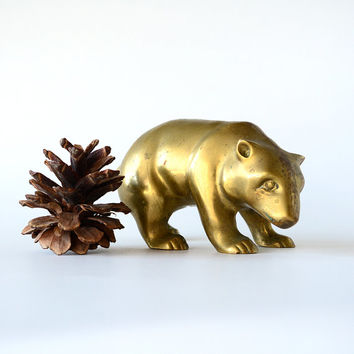 Golden Bear Brass Statue Vintage California Decor